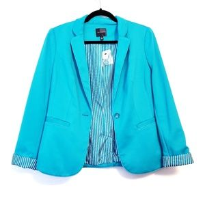 The Limited | Teal Button Blazer Sleeve: Tall